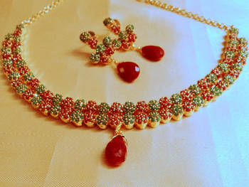 ruby green stylishpolki  necklace set