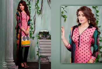 Trendy Pink & Black Embroidered Crape Dressmaterial