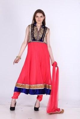 Designer Party Wear Net pink Readymade Anarkali Churidar Kameez with Dupatta