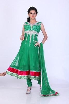 Festival and Party Wear Green  Net Readymade Anarkali Churidar Kameez with Dupatta