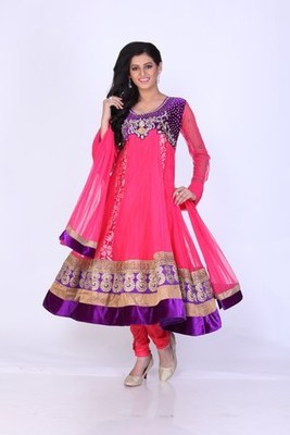 Festival and Party Wear Pink Net Readymade Anarkali Churidar Kameez with Dupatta