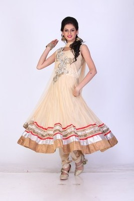 Festival and Party Wear Yellow Net Readymade Anarkali Churidar Kameez with Dupatta