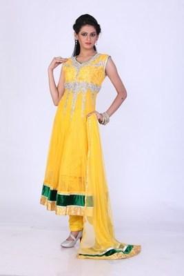 Festival and Party Wear Yellow Net Readymade Anarkali Churidar Kameez with Dupatta