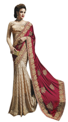 Golden Embroidered Satin,Net,Brasso Saree With Blouse