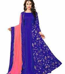 Gown By Voovilla (Blue Banarasi Silk)