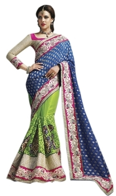 Green Embroidered Viscose,Net Saree With Blouse