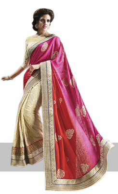 Cream Embroidered Jacquard,Net,Brasso Saree With Blouse