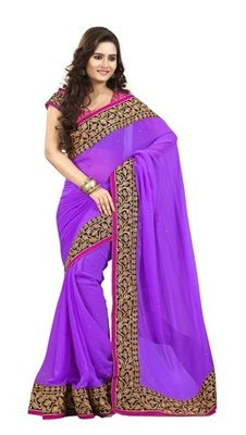 Violet Border Worked Faux Georgette Saree With Blouse
