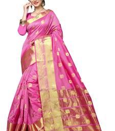 Buy Pink woven banarasi silk saree with blouse cotton-saree online