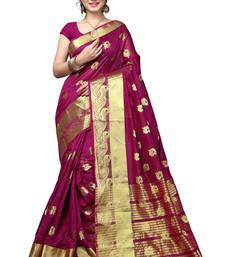 Buy Magenta woven banarasi silk saree with blouse cotton-saree online
