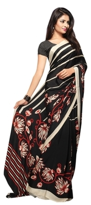 Black Printed Crape Saree With Blouse