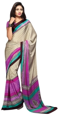 Beige Printed Crape Saree With Blouse