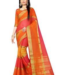 Buy Yellow plain silk saree with blouse below-1500 online