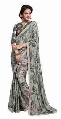 Grey Printed Shimmer,Satin Saree With Blouse