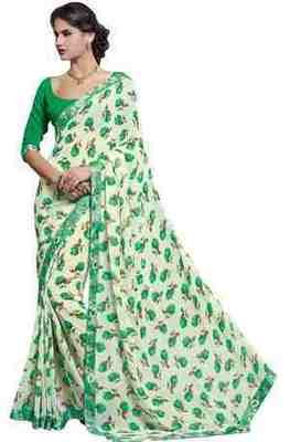 Cream Printed Faux Georgette Saree With Blouse