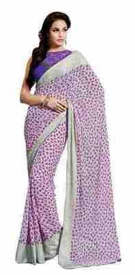 Light Purple Printed Jacquard Saree With Blouse