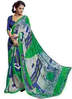 Multi Printed Shimmer,Satin Saree With Blouse