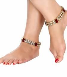 Buy Maroon crystal anklets karva-chauth-jewellery online