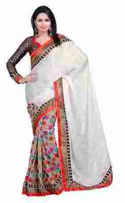Multi Border Worked Net,Jacquard,Faux Georgette Saree With Blouse