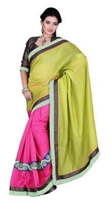 Pink Border Worked Linen Saree With Blouse