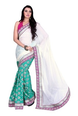 Green Border Worked Satin,Crape Saree With Blouse