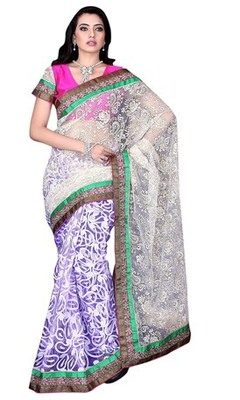 Violet Border Worked Net,Brasso,Tissue Saree With Blouse
