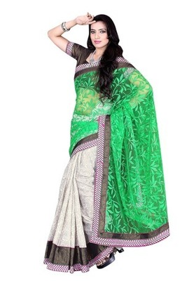 Off White Border Worked Brasso,Cotton Saree With Blouse