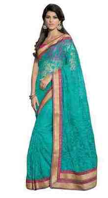Green Border Worked Net Saree With Blouse