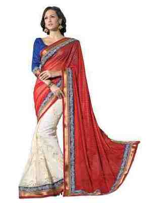 Red Border Worked Faux Georgette,Net Saree With Blouse