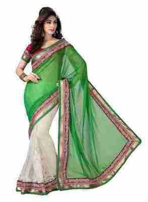 Green Border Worked Faux Georgette,Net Saree With Blouse