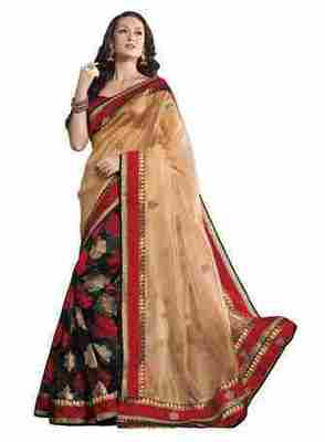 Multi Border Worked Net Saree With Blouse
