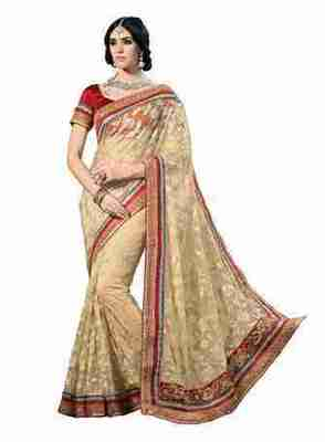 Beige Border Worked Net Saree With Blouse