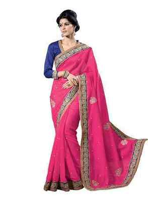 Magenta Border Worked Art Silk Saree With Blouse