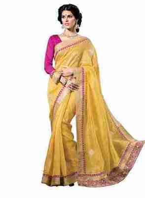 Yellow Border Worked Art Silk Saree With Blouse