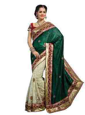 Off White Border Worked Satin,Jacquard,Net Saree With Blouse