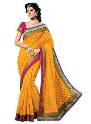 Yellow Border Worked Jacquard,Net Saree With Blouse