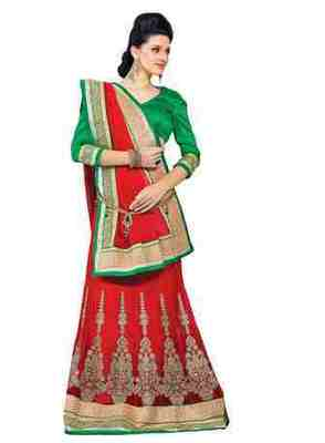 Red Border Worked Jacquard,Art Silk,Net Lehenga Saree With Blouse