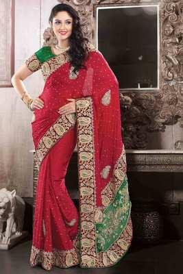 Red Georgette & Velvet combo saree in stone & zari work