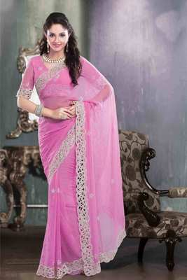 Pink georgette pearl & stone worked saree in white georgette border
