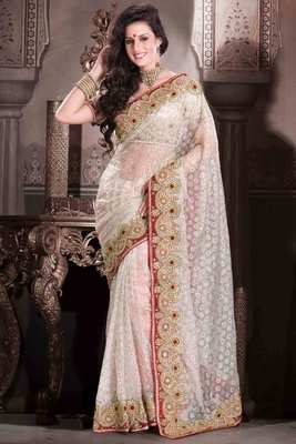 Buy White Embroideried Net Saree In Weaved Amp Stone Work