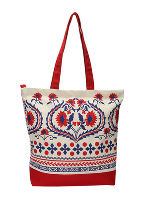 Red and offwhite floral tote  bag