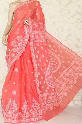 Hand Embroidered Lucknowi Chikankari Saree (With Blouse-Cotton)