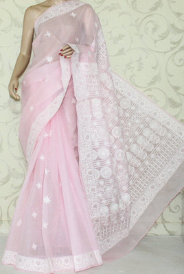 Baby Pink embroidered cotton saree with blouse