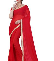 Buy Red plain lycra saree with blouse below-400 online