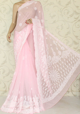 Hand Embroidered Lucknowi Chikankari Saree (With Blouse-Chiffon)