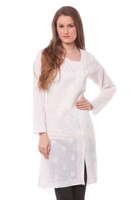white chikankari cotton stitched kurti