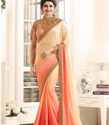 Buy Peach embroidered georgette saree with blouse georgette-saree online