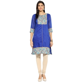 Blue chanderi Cotton stitched kurti