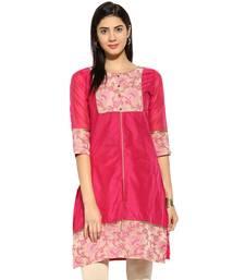 Pink chanderi Cotton stitched kurti