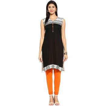 Black abstract_print Rayon stitched kurti